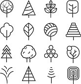 Simple contour lines trees. Vector nature plants and  thin line icons isolated on white background