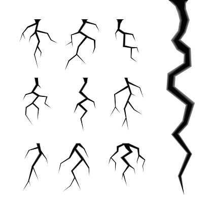 Simple cracks vector set isolated on white design elements of the destruction and damage of any material or object illustrations of various cracks with inner shadows