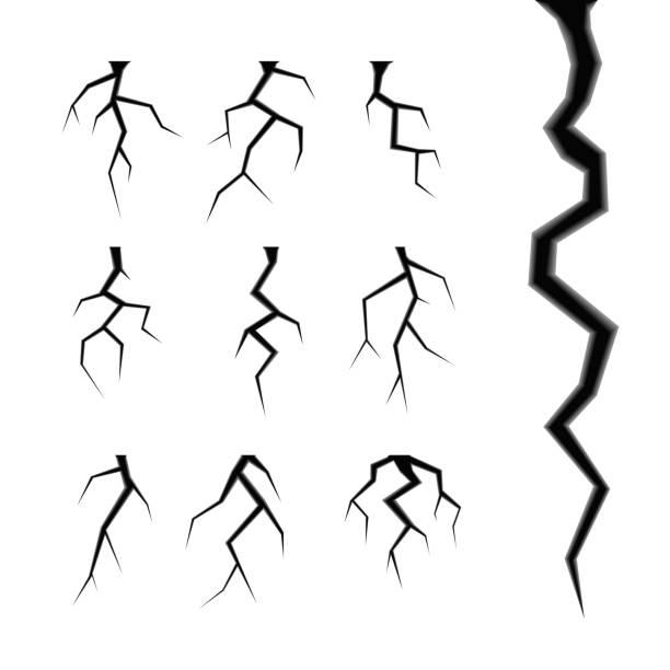 prosty zestaw wektorów pęknięć izolowanych na białym - popękany stock illustrations
