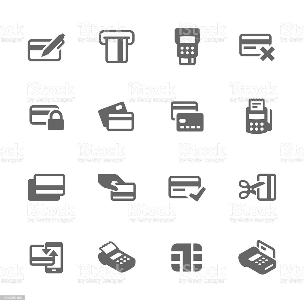 Ícones simples cartões de crédito - ilustração de arte em vetor