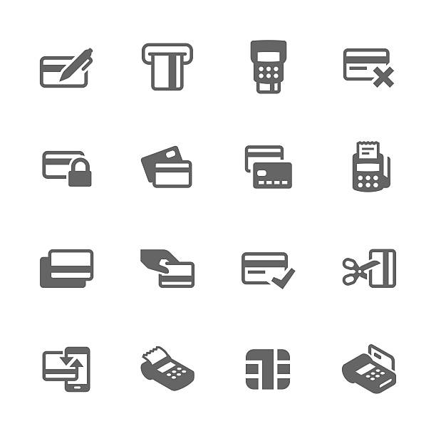 Simple Credit Cards Icons Simple Set of Credit Cards Related Vector Icons. Contains such icons as payment, chip, security, transactions and more.  inserting stock illustrations
