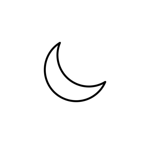 簡單新月線圖示 - 新月 幅插畫檔、美工圖案、卡通及圖標