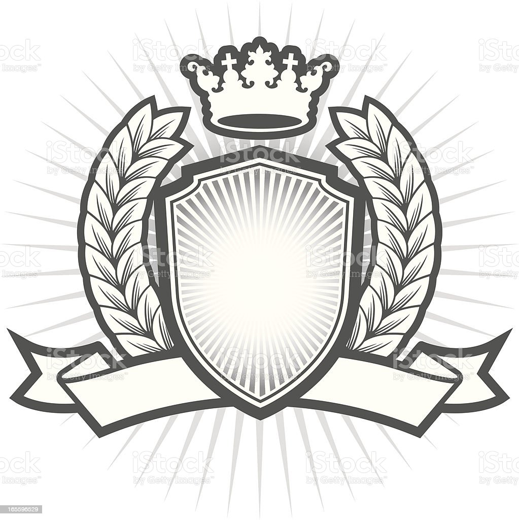 Simple crest with shield royalty-free stock vector art
