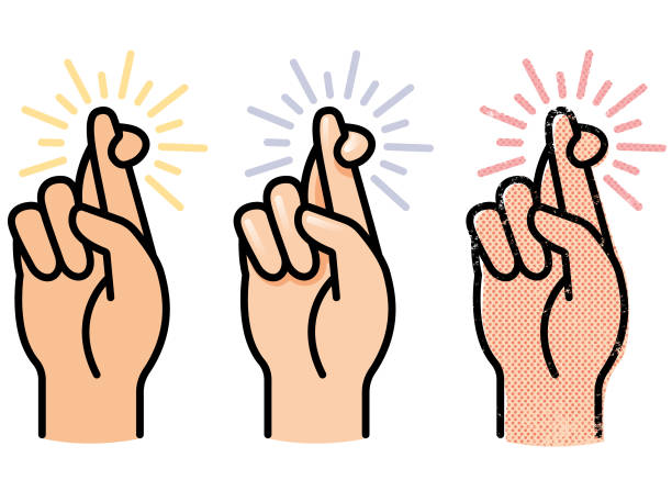 Simple crossed fingers vector A simple  graphic illustration of a hand with fingers crossed, in three different versions good luck charm stock illustrations