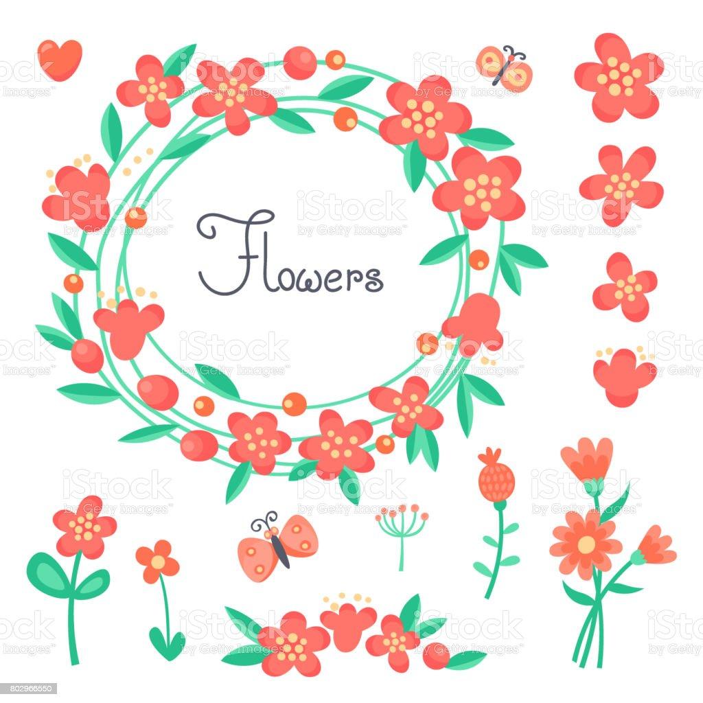 Ilustración De Sencillas Lindas Flores Y Mariposas Para El Diseño De
