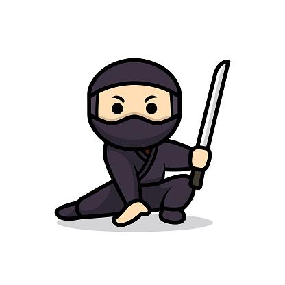Simple cute ninja mascot design