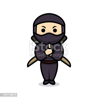 Simple cute ninja mascot design illustration vector template