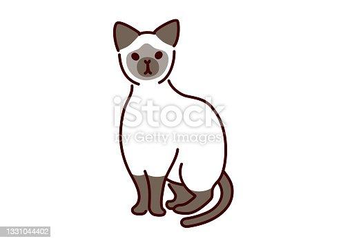 istock Simple cute siamese cat illustration 1331044402