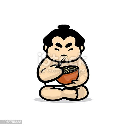 Simple cute sumo mascot design illustration vector template