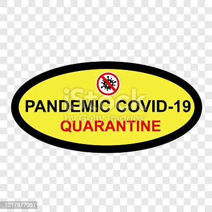 istock Simple Cutting Sticker, Vector Sign Caution Warning, Pandemic Covid-19 Quarantine, at transparent effect background 1217877051