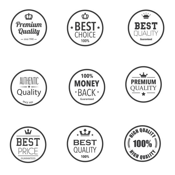 Simple dark premium quality badges vector art illustration