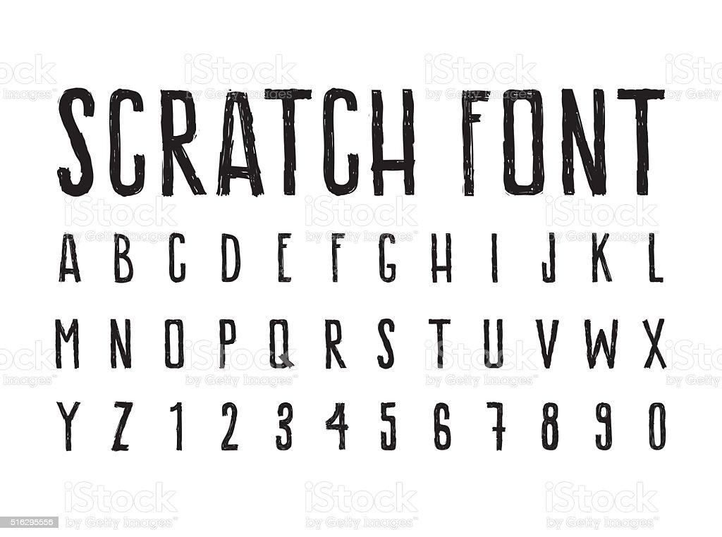 シンプルな装飾を運んだり。すばらしい 汚れた 文字フォント ベクターアートイラスト
