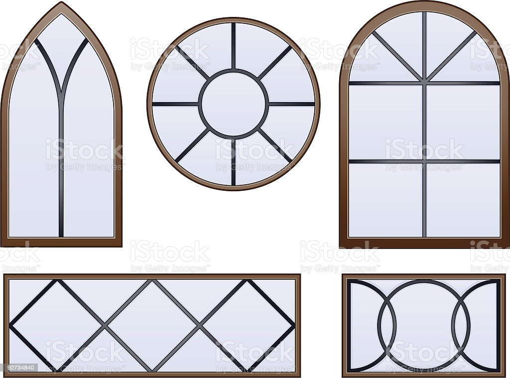 Simple decorative glass windows vector art illustration