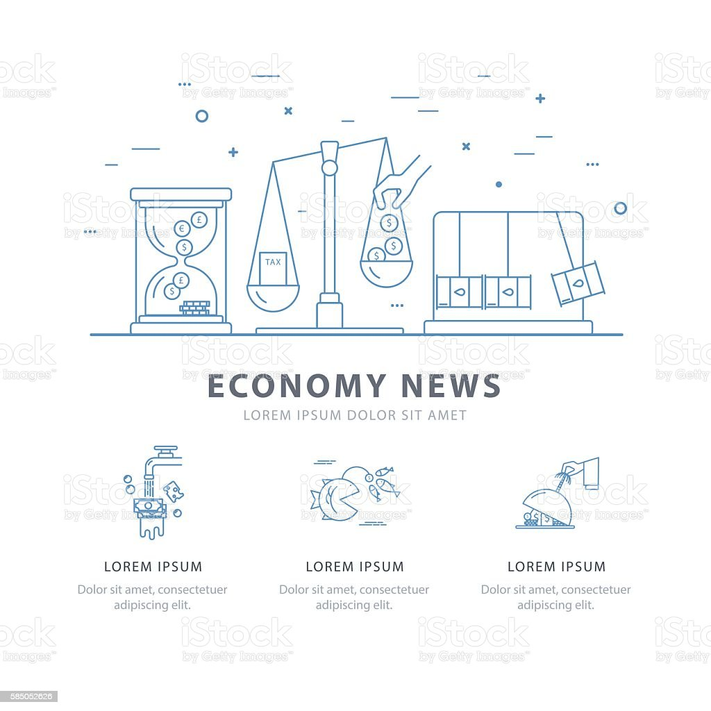 Simple design templates for economy news. vector art illustration