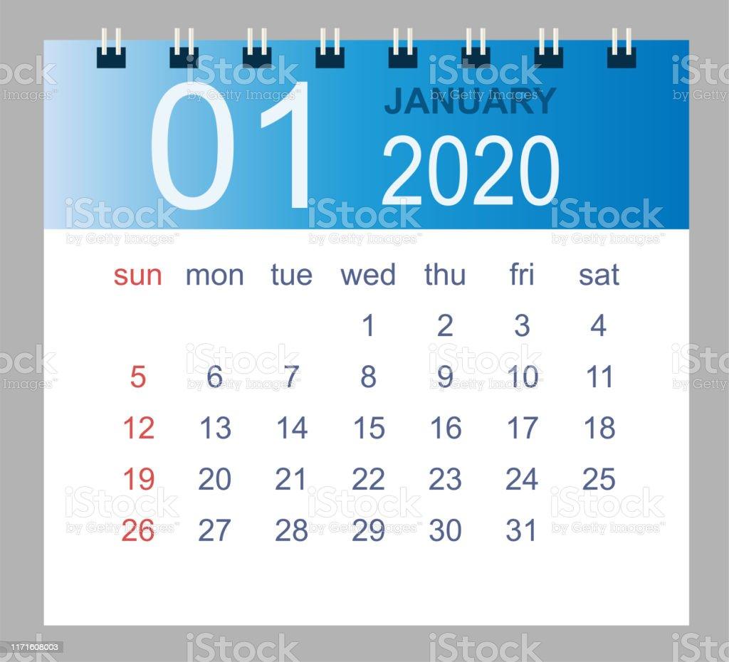 Calendrier 2020 Semaine Numerotees.Calendrier De Bureau Simple Pour Janvier 2020 Vecteurs