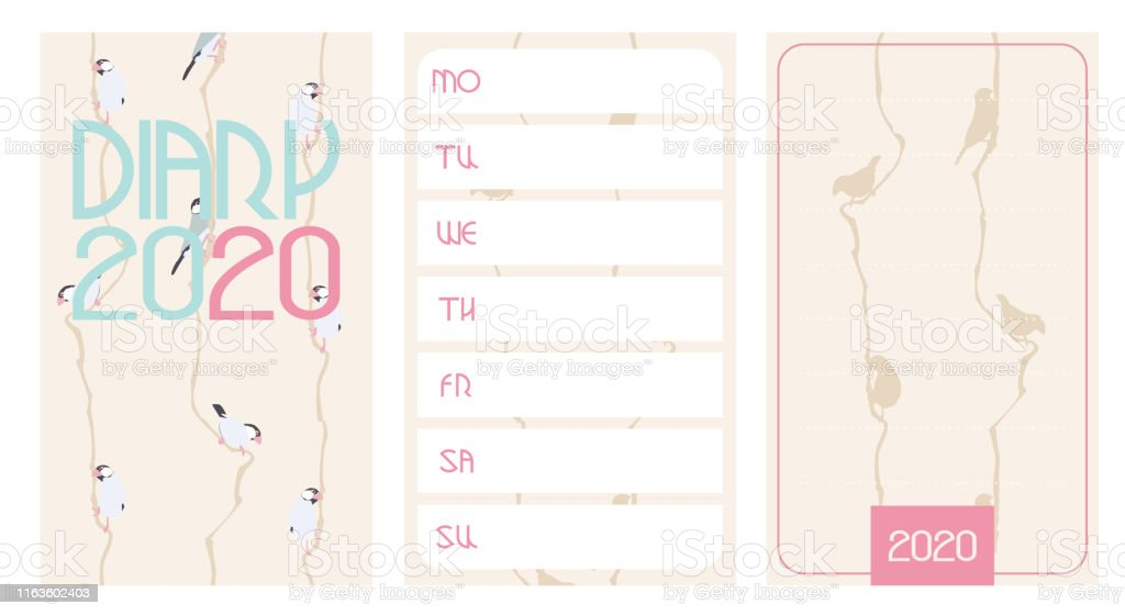 Diary 2020. Front page, week planner and page for notices with cute...
