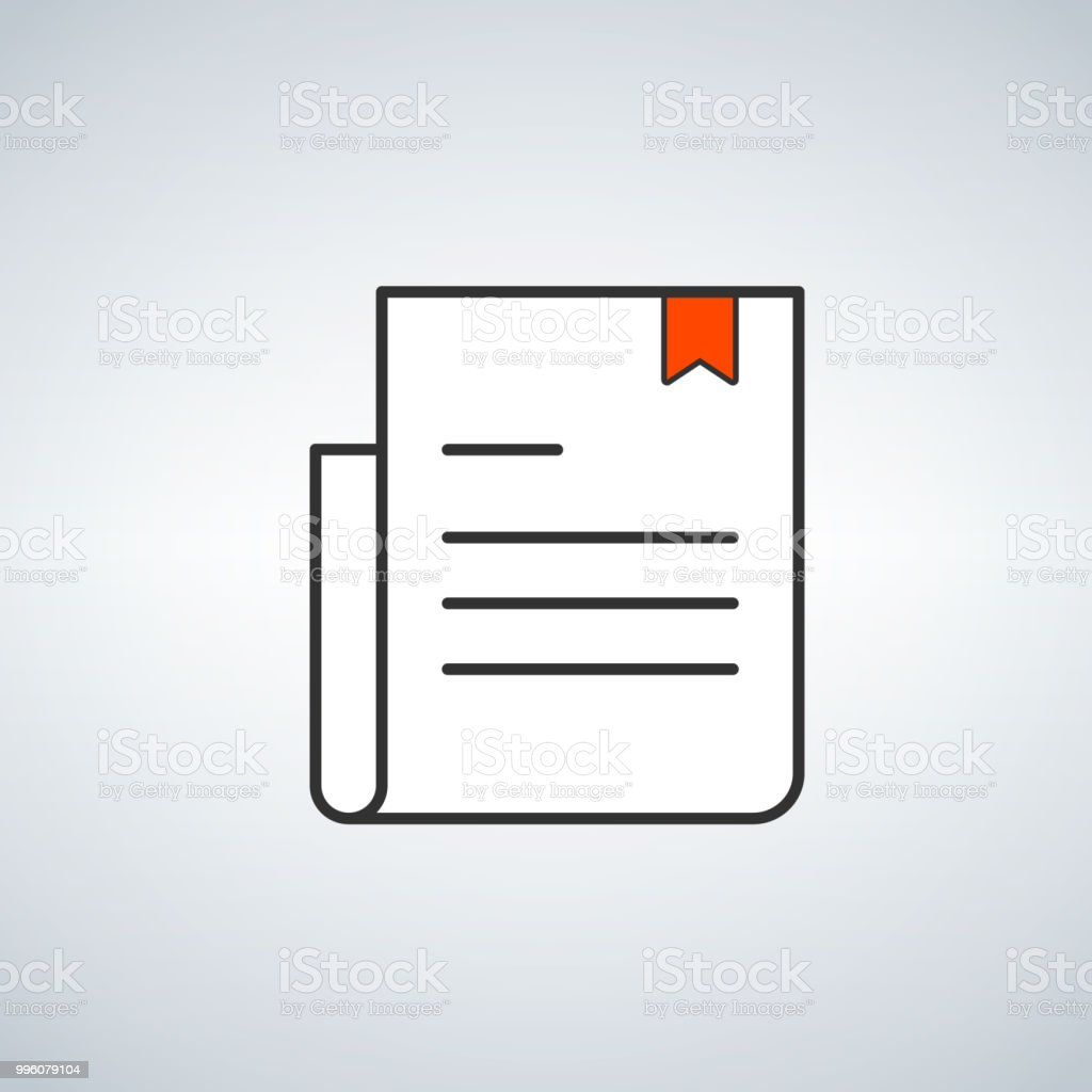 Logo De Document Simple Avec Signet Rouge Concept Delivre
