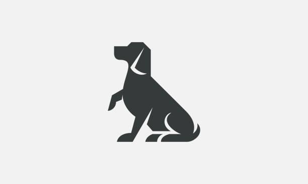 basit köpek silhouette şirket logosu - dog stock illustrations