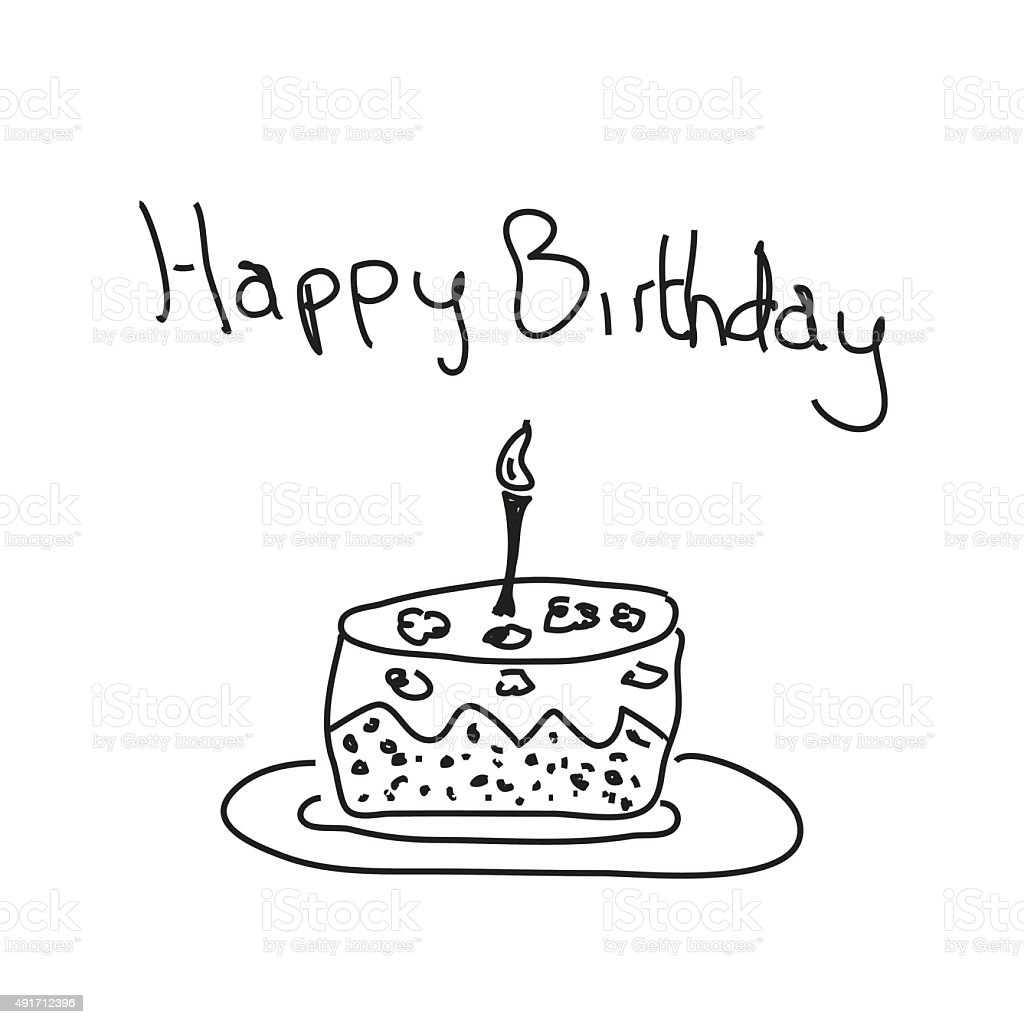 Simple Doodle Of A Birthday Cake Stock Illustration Download Image Now Istock