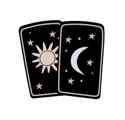 Simple doodle of a tarot card with sun and moon, boho tattoo, symbol of fortune-telling and prediction, icon for witch. Vector illustration isolated on white background.