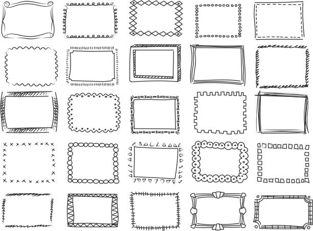Simple doodle, sketch square vector frames. hand drawn borders Simple doodle, sketch square vector frames Pencil effect collection and hand drawn borders frame border stock illustrations