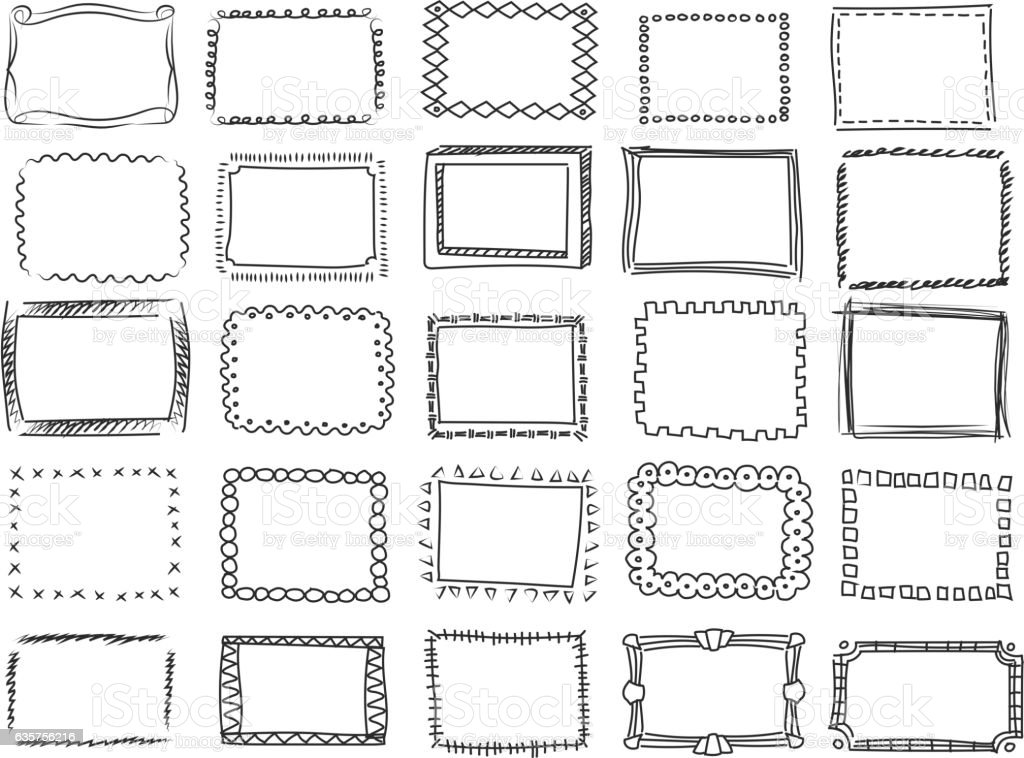 Simple doodle, sketch square vector frames. hand drawn borders - Illustration vectorielle