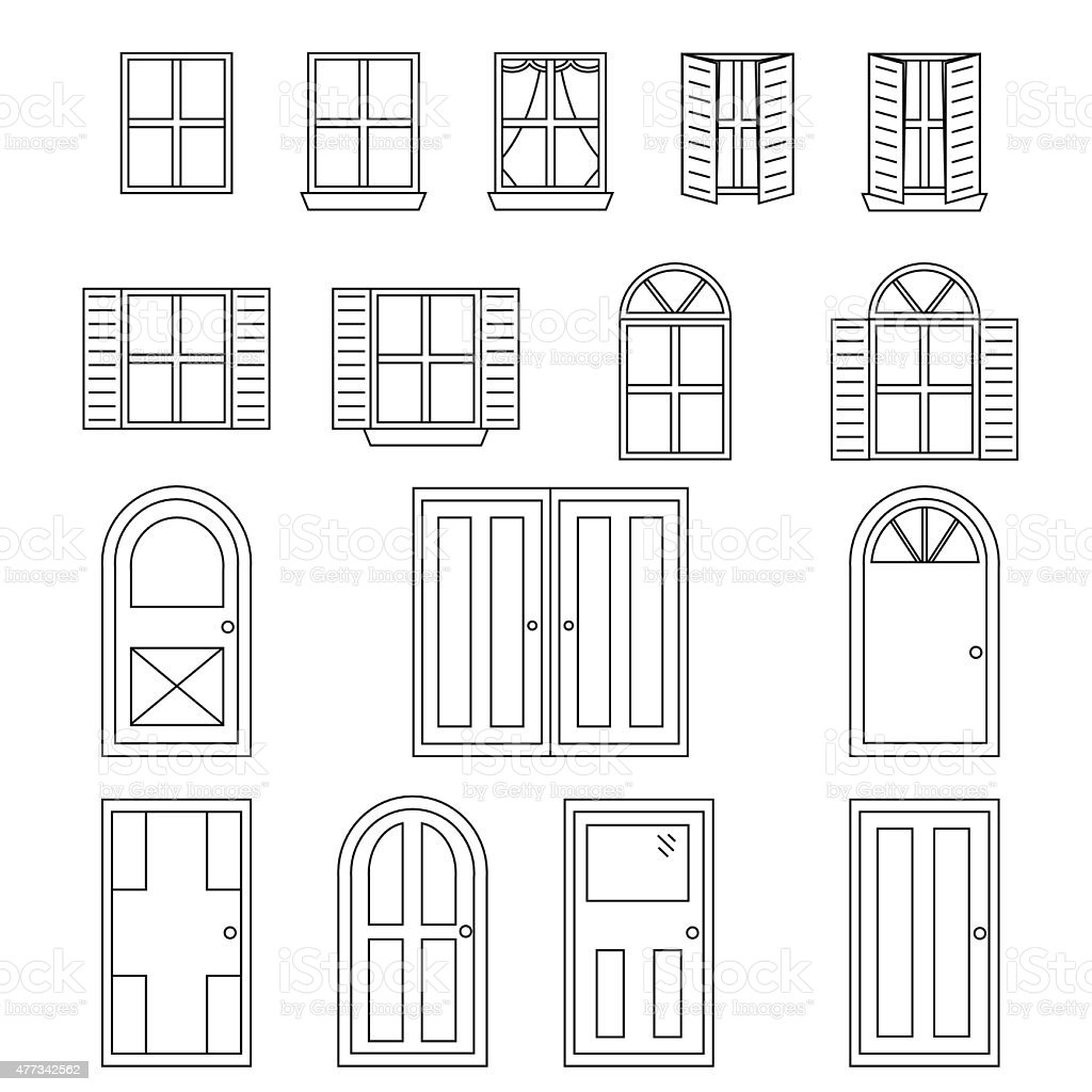 Simple Doors And Windows vector art illustration