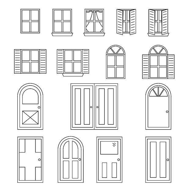 bildbanksillustrationer, clip art samt tecknat material och ikoner med simple doors and windows - valv arkitektoniskt drag