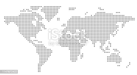 simple dot business map of the world, vector background