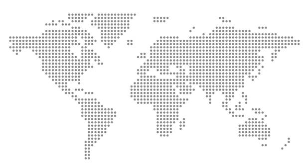 simple dot business map of the world, vector background simple dot business map of the world, vector background airport patterns stock illustrations