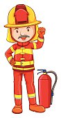 Simple drawing of a fireman
