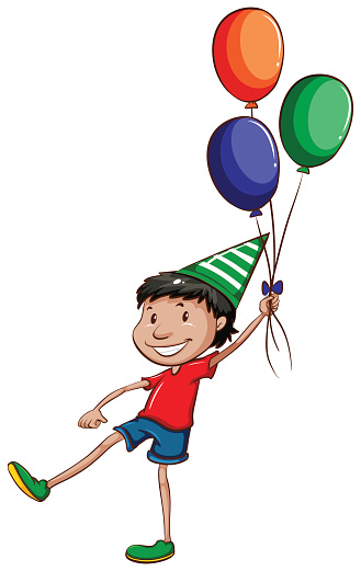Simple drawing of a happy young boy with balloons