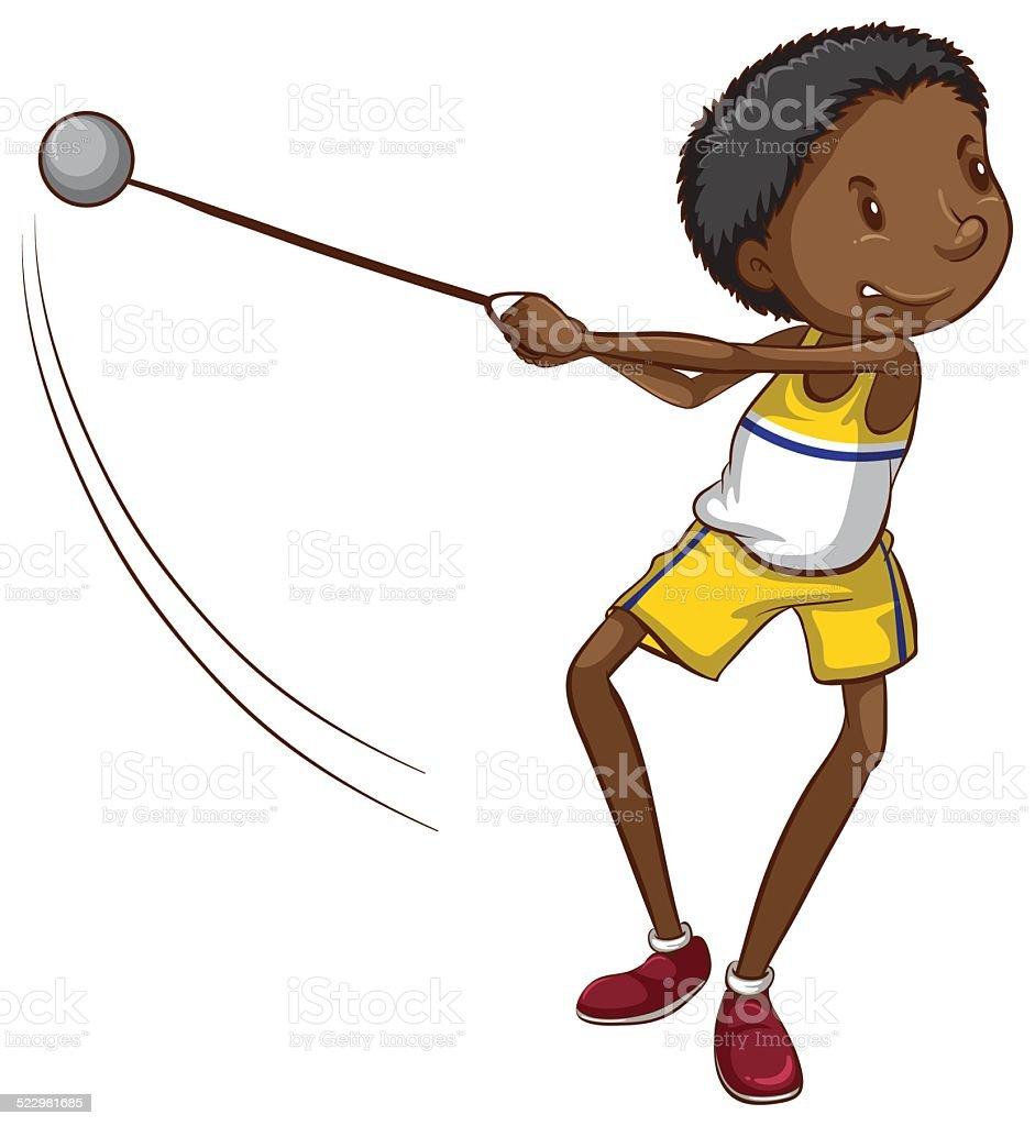 簡単な描画を投げる若い男の子ボール イラストレーションのベクター