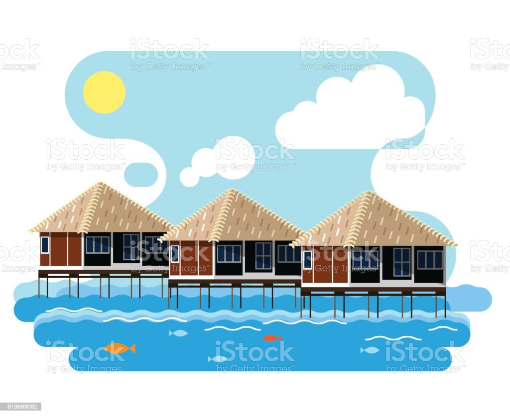 Simple drawing of wooden bungalow on the water. vector art illustration