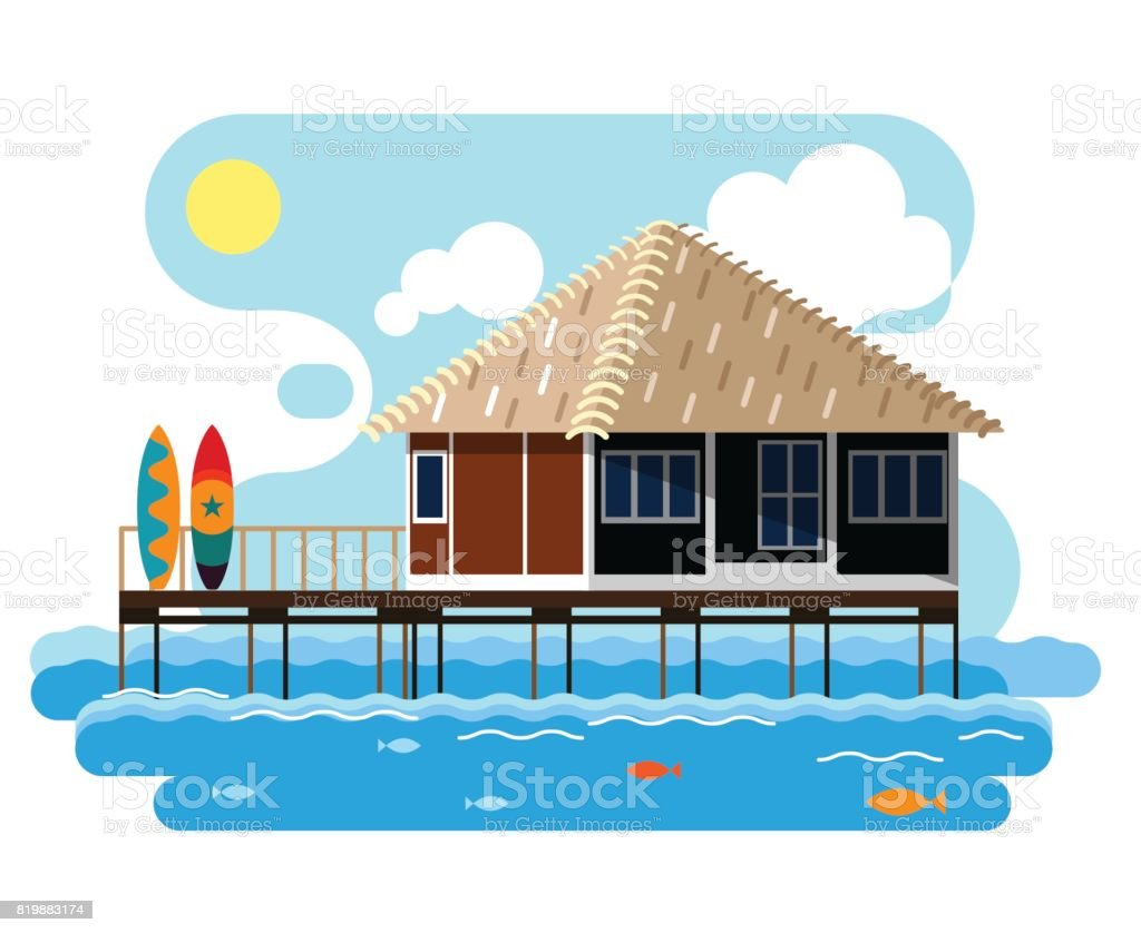 Simple drawing of wooden bungalow with surfing boards. vector art illustration