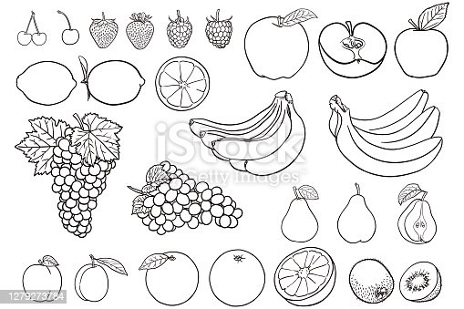 istock Simple drawings of fruit for coloring books 1279273784