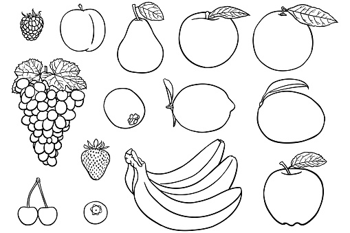 Simple drawings of fruit for coloring books