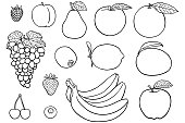 istock Simple drawings of fruit for coloring books 1279975975
