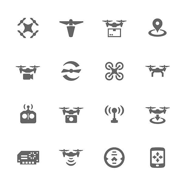ilustrações de stock, clip art, desenhos animados e ícones de ícones simples monótona - drone