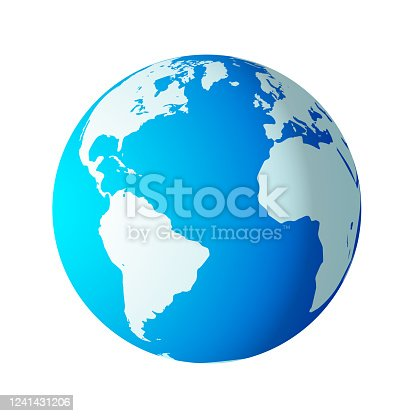istock Simple earth globe with Americas, Europe and Africa visible. 1241431206