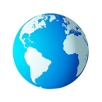Simple earth globe with Americas, Europe and Africa visible.