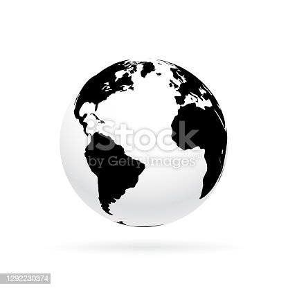 istock Simple earth globe with Americas, Europe and Africa visible. Photorealistic world globe isolated on white. 1292230374