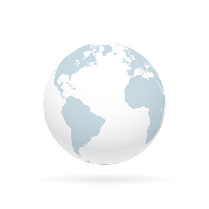Simple earth globe with Americas, Europe and Africa visible. Photorealistic world globe isolated on white.
