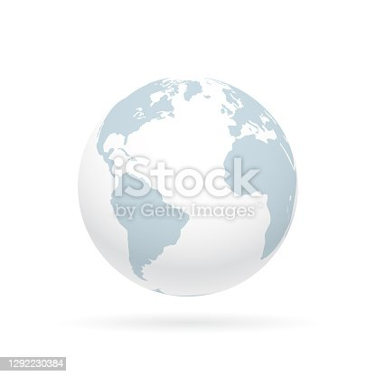 istock Simple earth globe with Americas, Europe and Africa visible. Photorealistic world globe isolated on white. 1292230384
