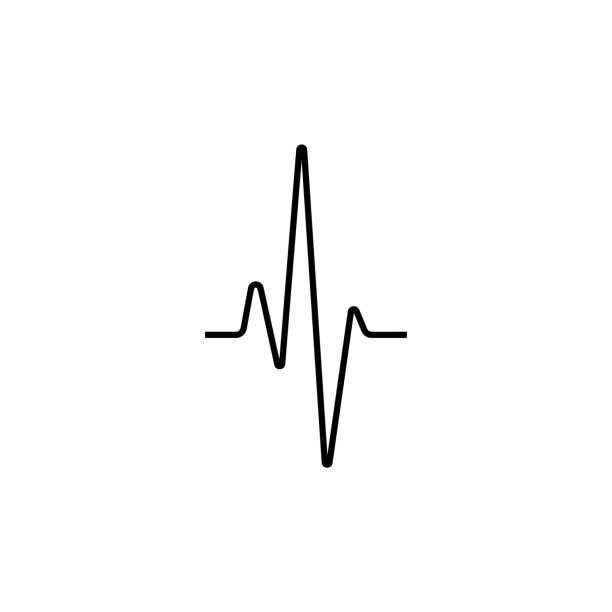simple earthquake sinusoidal signal line - ecg stock illustrations, clip art, cartoons, & icons