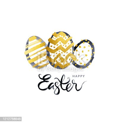 Hand drawn egg shapes isolated on white paper background. Painted carelessly by black ink and gold acrylic paint.  Absolutely amazing textured effect! Zoom to see the details!  VECTOR ILLUSTRATION - enlarge without lost the quality!  Modern simple minimalistic Easter Card design.