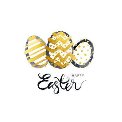 Simple Easter greeting card with three Easter Eggs in the middle and handwritten text under - vector illustration in black and gold colors isolated on white paper background with messy and uneven dots pots lines and zig zags