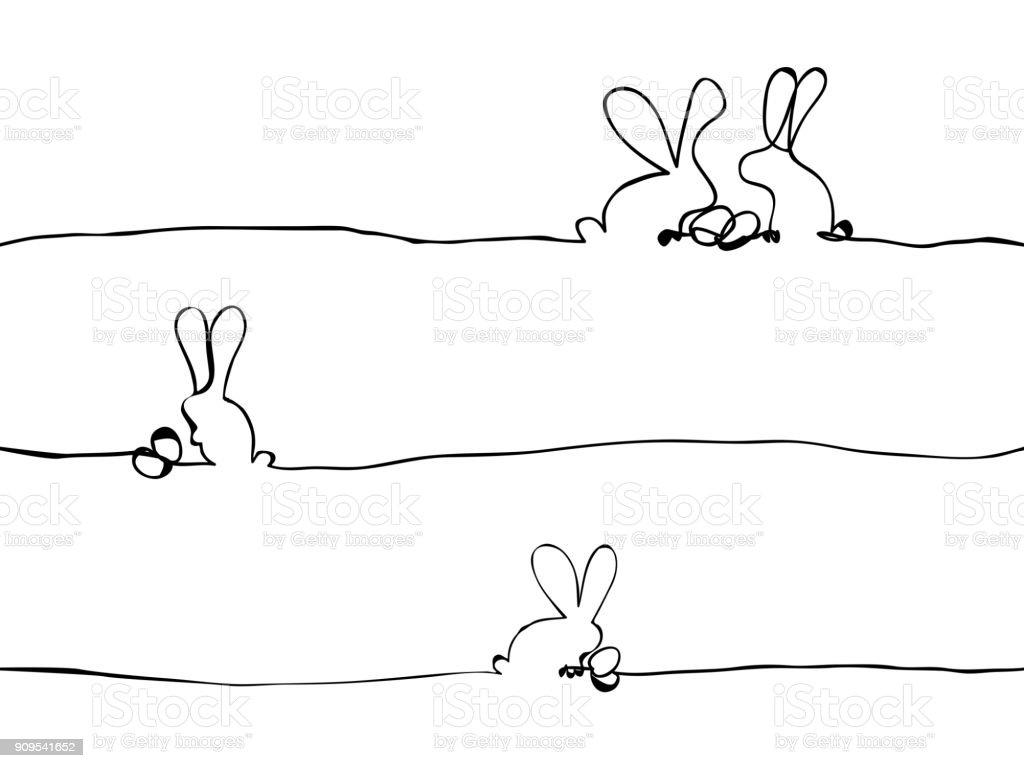 simple easter bunny jour et oeufs avec lignes art, papier peint, tendance, bannière, étiquette, texture, vector design - Illustration vectorielle