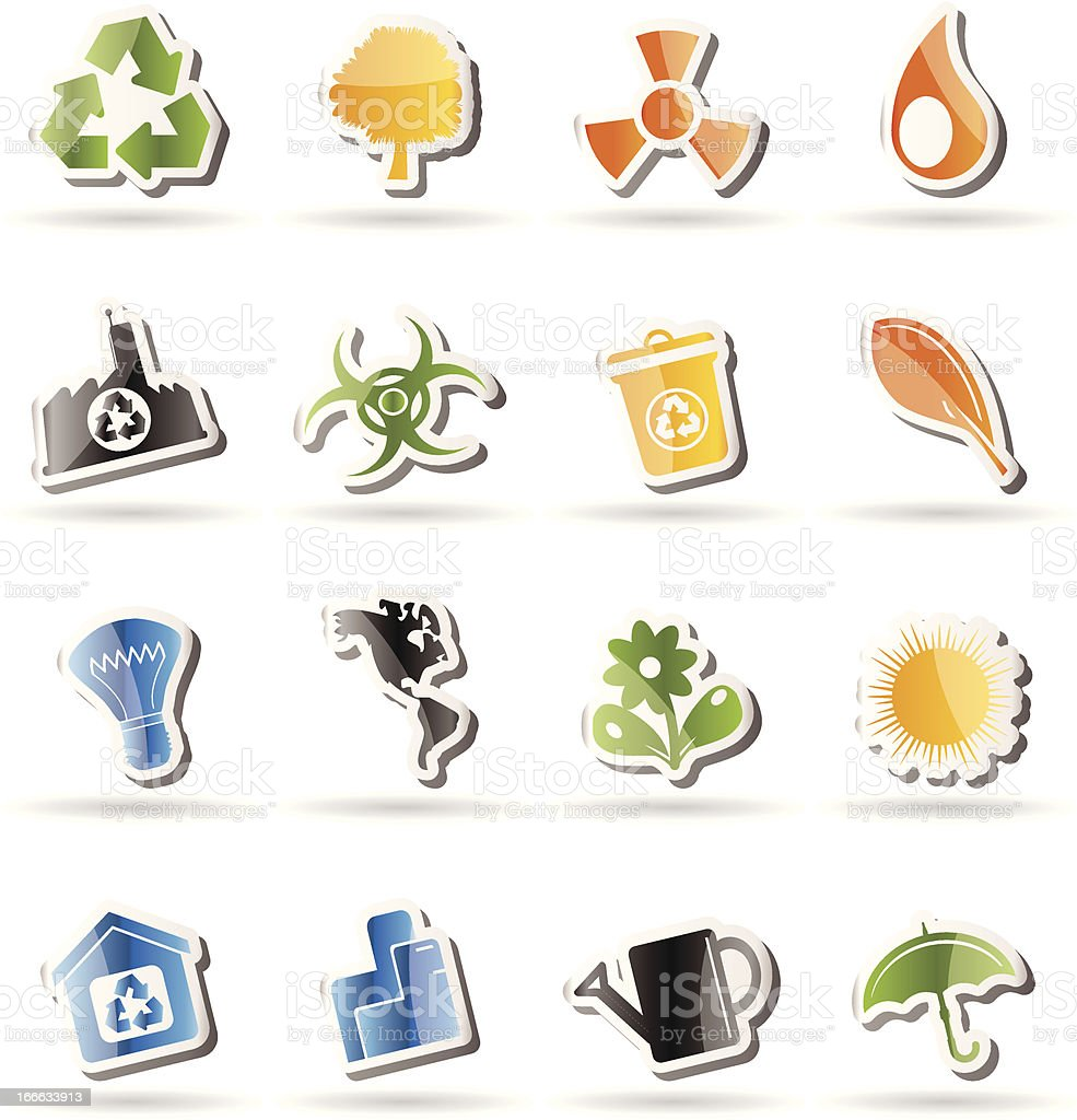 Simple Ecology and Recycling icons royalty-free stock vector art