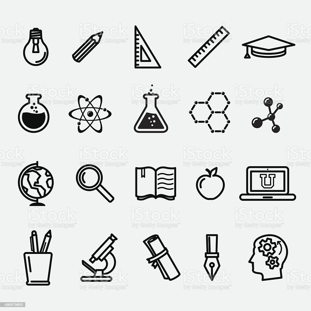 Simple education and science icons vector art illustration